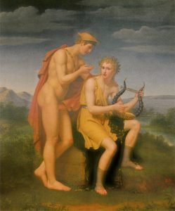 amphion playing the lyre next to mercury