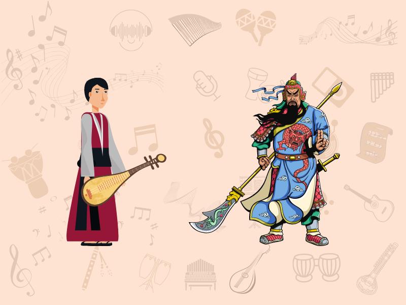 pipa player and chinese warrior