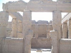 dendera temple entrance with hathor sistrum like columns
