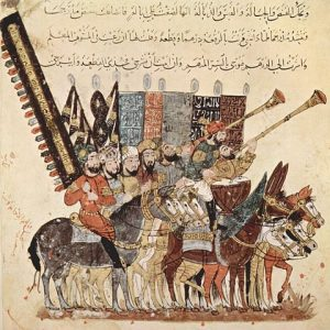 arab miniature depicting musicains playing drums and the nafir
