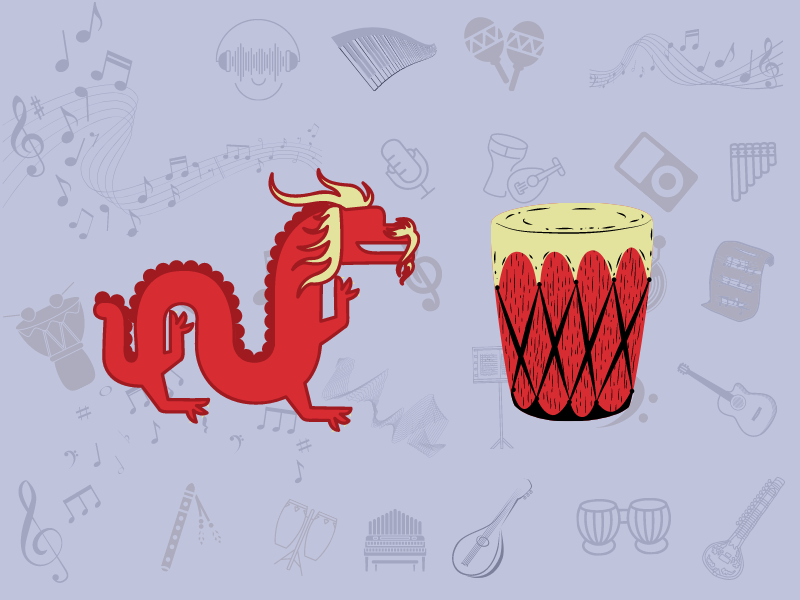 chinese dragon with an alligator drum