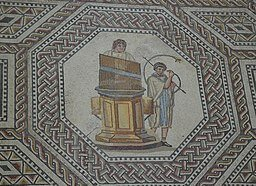 nennig mosaic depicting a cornu player and a hydraulis
