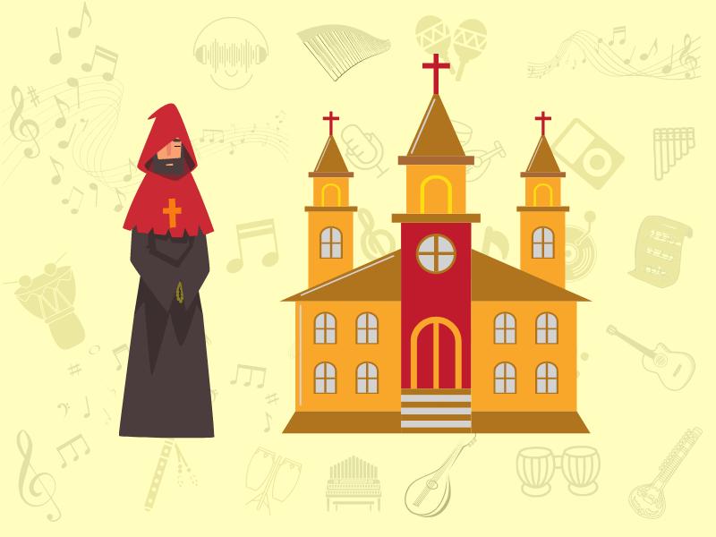 a monk next to a catholic church