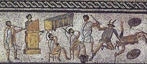 detail of the zilten mosaic depicting a cornu player