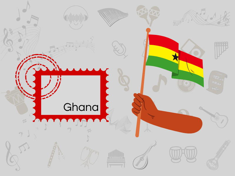 ghanaian postal employees playing music while cancelling stamps
